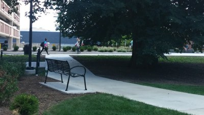 Joel's bench installed next to Grange building and overlooking the HUB