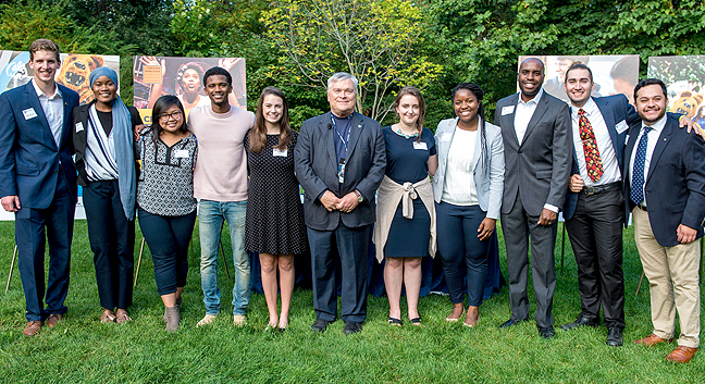 Group photo of President Barron, students, and Dr. Whitehurst