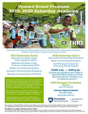 Upward Bound Programs Saturday Academy Flyer 2019
