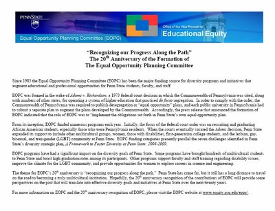 """Recognizing our Progress Along the Path"": The 20th Anniversary of the Formation of The Equal Opportunity Planning Committee"