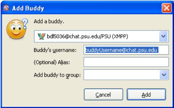 Add buddy dialog used to add a person to your buddy list in Pidgin