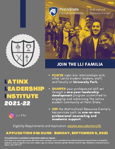 Latinx Leadership Institute 2021 Flyer