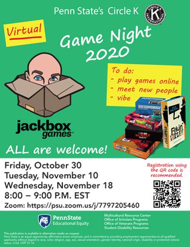 Virtual Game Night Flyer