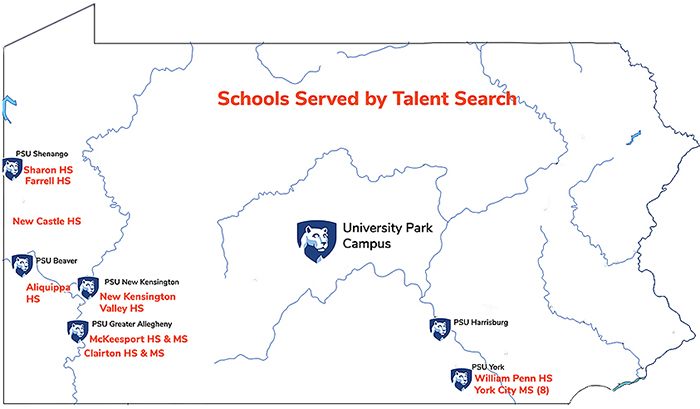 Talent Search Schools in Pennsylvania Served